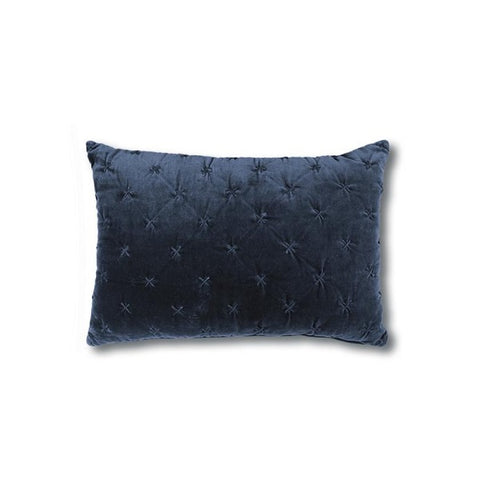 Vienna Cross Velvet Cushion Indigo Rectangle
