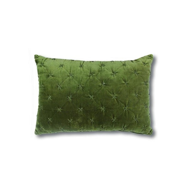 Vienna Cross Velvet Cushion Olive Rectangle