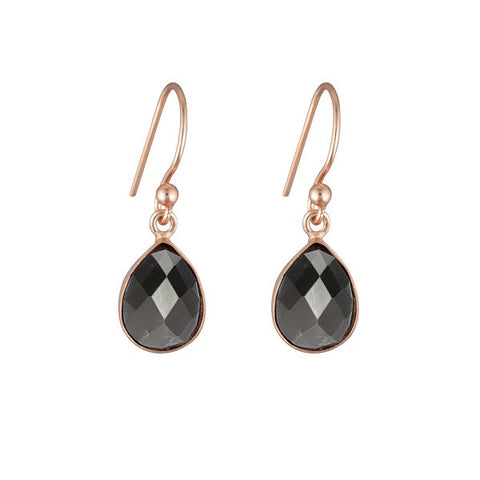 Nicole Fendel Jewellery | Aurora Stone Teardrop Earrings Hematite
