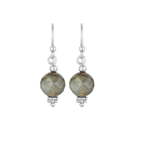 Nicole Fendel | Divina Drop Earrings Labradorite, Silver