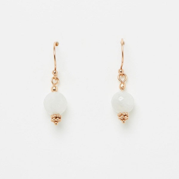 Nicole Fendel | Divina Drop Earrings Moonstone, Rose Gold