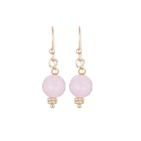Nicole Fendel | Divina Drop Earrings Rose Quartz Gem, Rose Gold