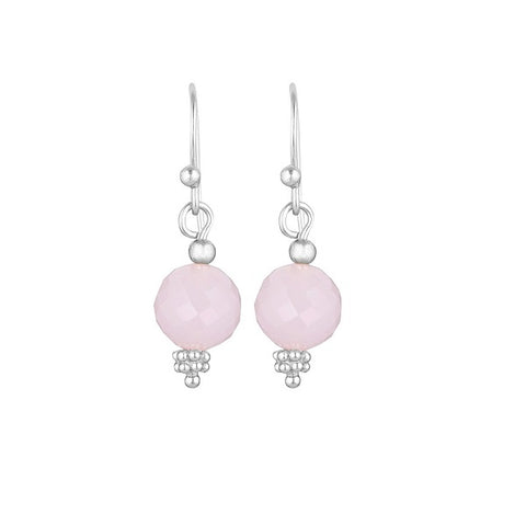 Nicole Fendel | Divina Drop Earrings Rose Quartz Gem, Silver