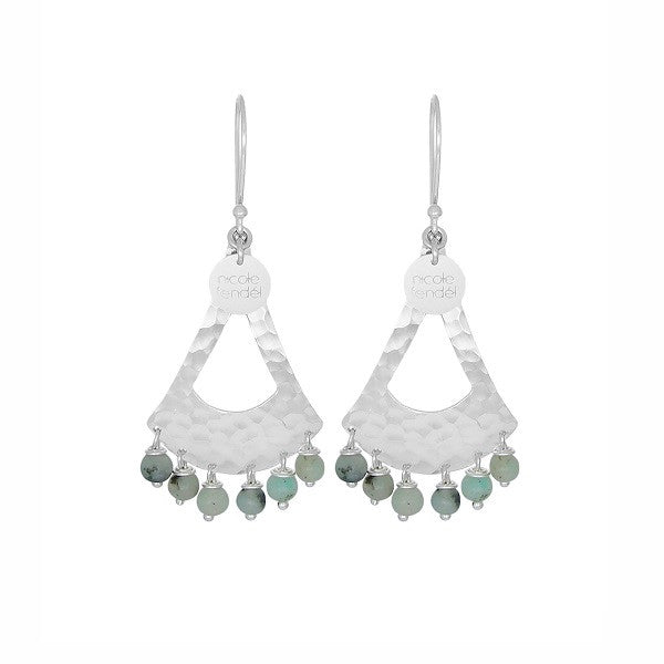 Nicole Fendel Jewellery | Frida Beaded Earrings Mint Fleck Agate Silver