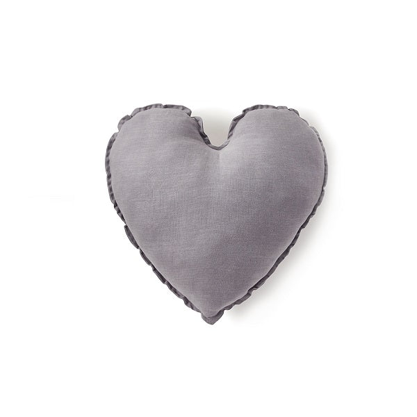 Nana Huchy | Linen Heart Cushion Dove Grey 45cm