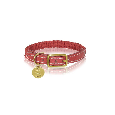 Sebastian Says | Collar - Macrame/Leather Terracotta Red
