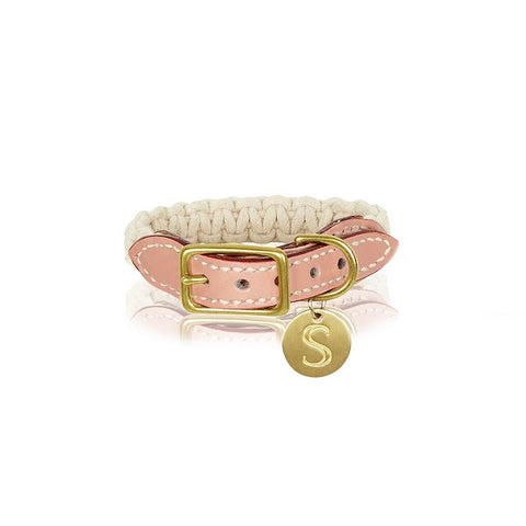 Sebastian Says | Collar - Macrame/Leather Soft Pink