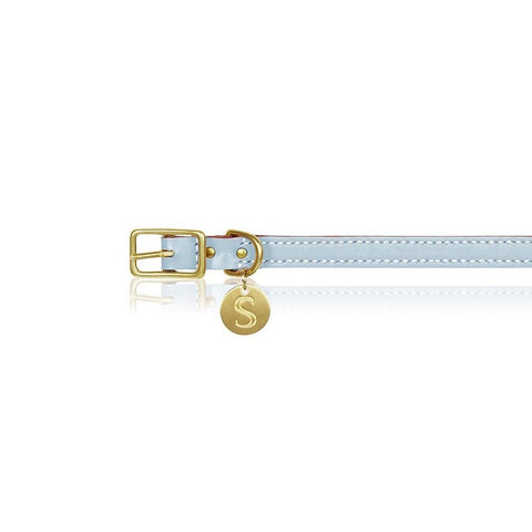 Sebastian Says | Collar - Leather Ice Blue