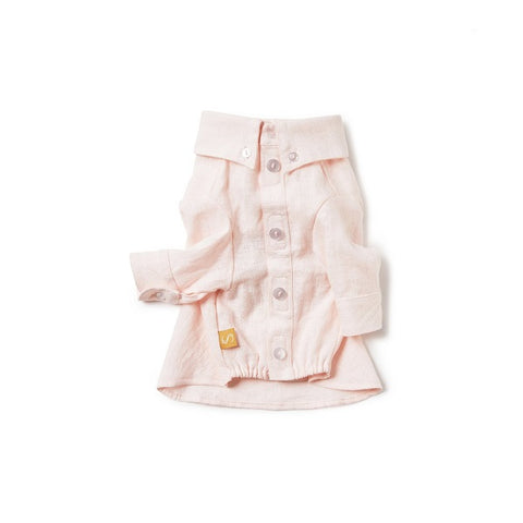 Sebastian Says | French Linen Dog Shirt - Soft Pink