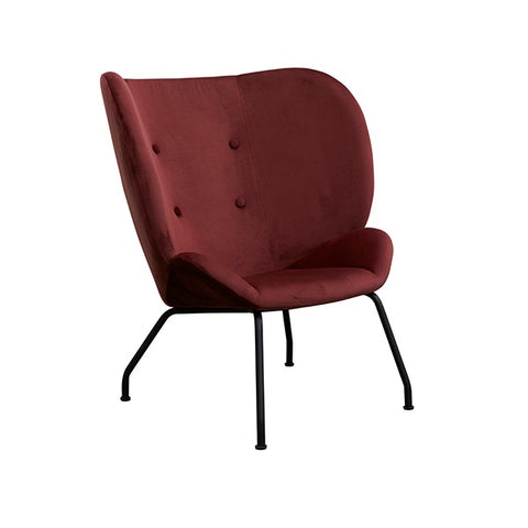 Halo Wingback Armchair Velvet Merlot | Furniture
