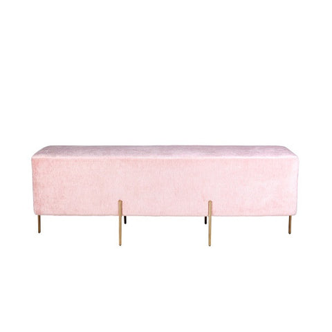 Lucienne Rectangle Ottoman - Blush Pink | Furniture