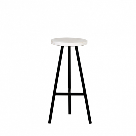 Terrain Marble Stool Satin Black | Furniture