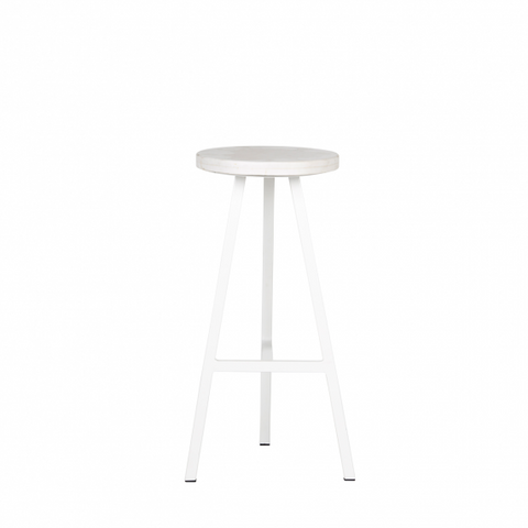 Terrain Marble Stool Satin White | Furniture