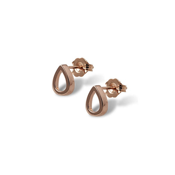 Von Treskow | Open Pear Studs Rose Gold | Jewellery