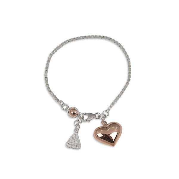 Von Treskow | Box Chain Bracelet with Puffy Heart & Round Rose Gold | Jewellery