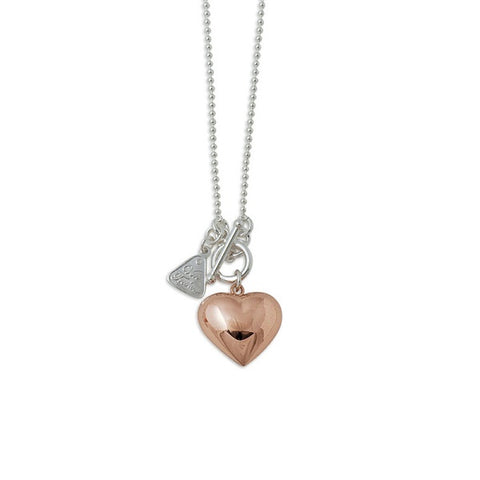 Von Treskow | Two Tone Rose Fold Puffy Heart Necklace | Jewellery