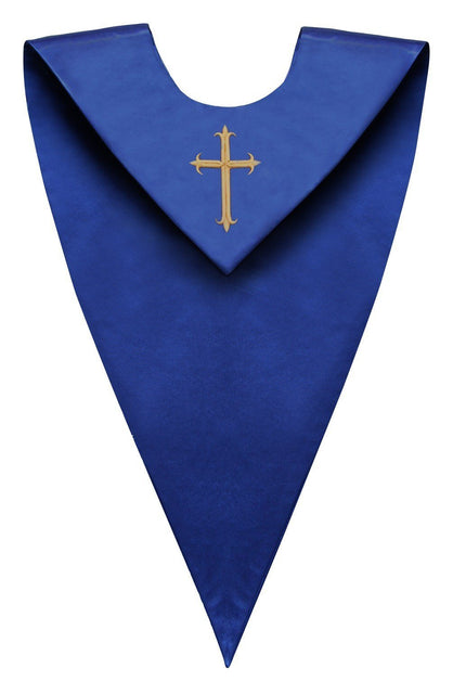 Royal Blue V-Neck Choir Stole - Churchings