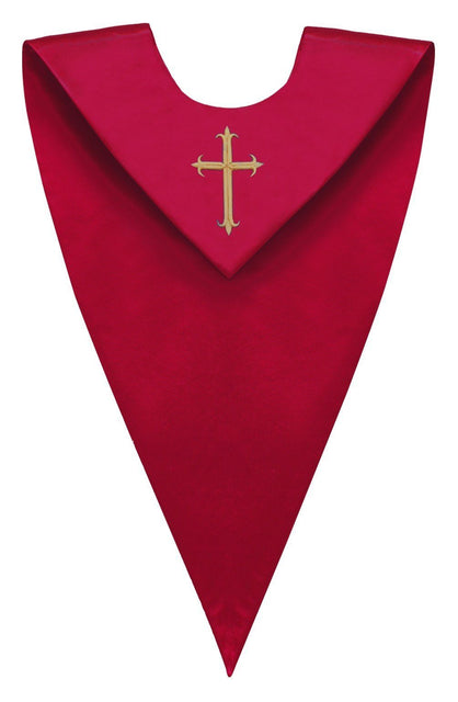 Red V-Neck Choir Stole - Churchings