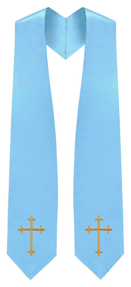 Light Blue Traditional Choir Stole - Churchings