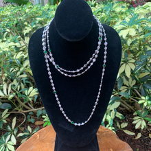 Load image into Gallery viewer, Crystal by the Yard Long Necklace with Emerald Accents