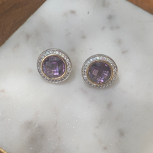Load image into Gallery viewer, Two Tone Designer Style Amethyst with Cubic Zirconia Earrings