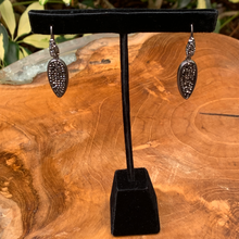 Load image into Gallery viewer, Crushed Hematite Teardrop Shaped Drop Earrings