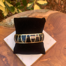 Load image into Gallery viewer, Gold Tone with Black Enamel Clamp Bracelet