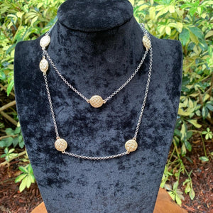 Two-Toned Station Disc Necklace