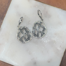 Load image into Gallery viewer, Open Weave with Crystals Drop Earrings