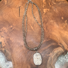 Load image into Gallery viewer, Hand Crafted Druzy Sterling Silver Pendant with Three Strand Crystal Chain