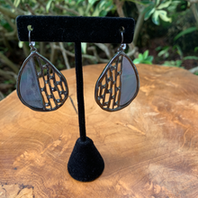 Load image into Gallery viewer, Gun Metal with Black Stones and Abalone Look Enamel Drop Earrings
