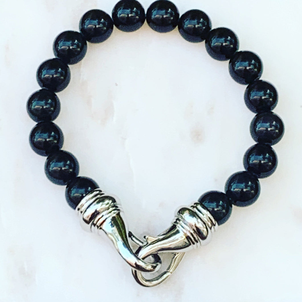 Black Bead Bracelet with Silver Lobster Clasp