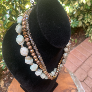 Three Strand Aquamarine, Pearls, Crystals, Pewter Hand Crafted Necklace