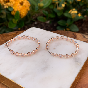 Rose Gold Tone Crystals Inside Out Crystal Hoop Earrings