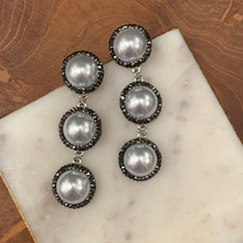 Load image into Gallery viewer, Triple Pearl and Hemitite Drop Earrings