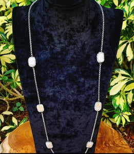 Pearl Hematite Stationed Silver Necklace