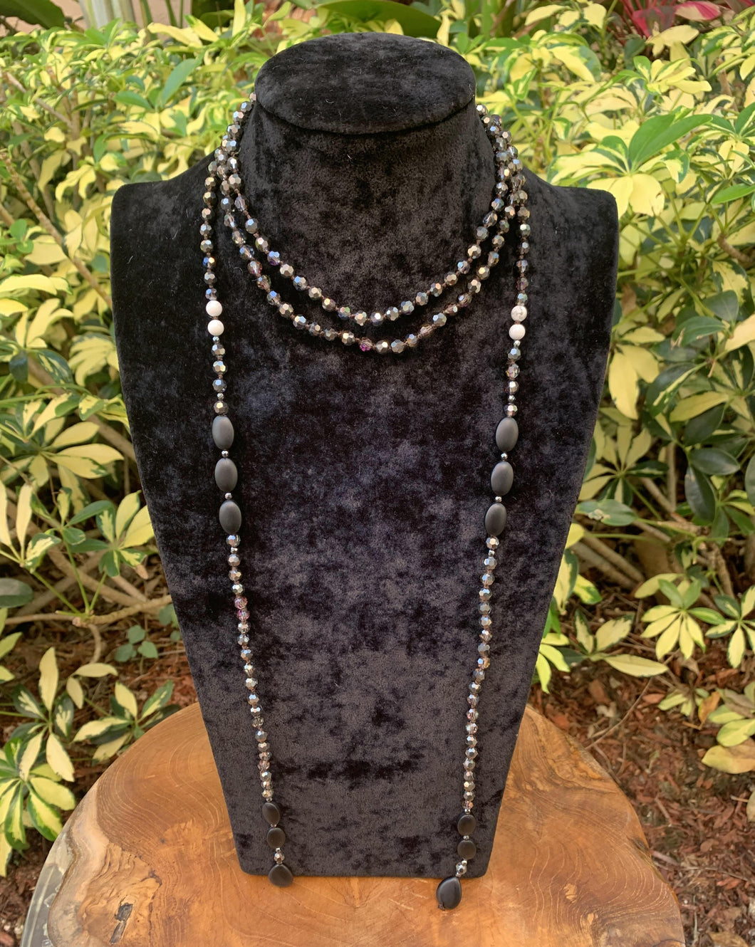 Crystal Beaded and Natural Stone Lariat Necklace
