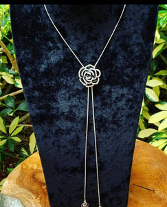Black Flower Sliding Lariat Necklace
