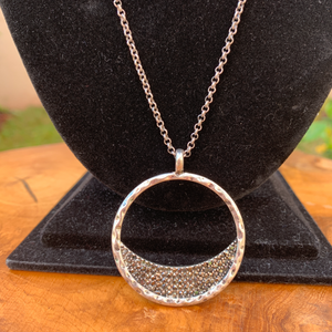 Silver Tone Necklace Circle Pendant with Black Crystals