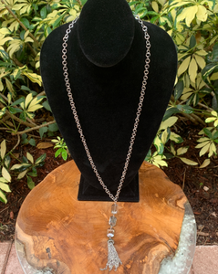 Silver Tone With Square Bead Tassel Drop