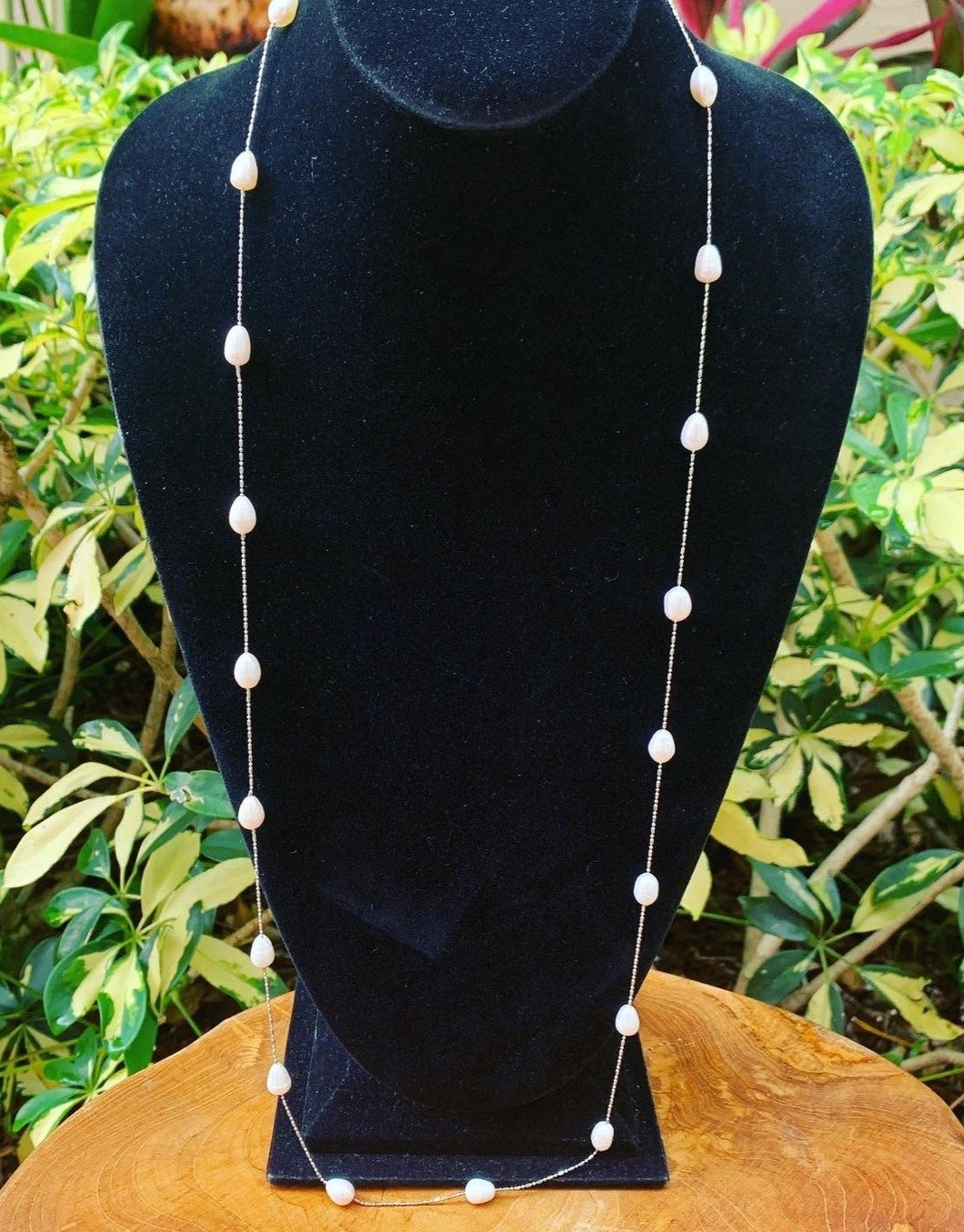 Silver Tone Pearl Station Necklace
