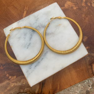 Gold Tone Slinky Look Large Hoop Earrings