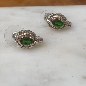 Small Emerald Green Like Stone Half Hoop Earrings