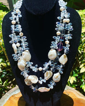 Load image into Gallery viewer, Three Strained Crystal and Baroque Pearl Necklace