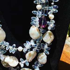 Three Strained Crystal and Baroque Pearl Necklace