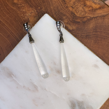 Load image into Gallery viewer, Gun Metal With Crystal and Long Glass Drop Earrings
