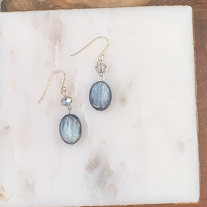 Sterling Silver Crystal and Blue Lapis Drop Earrings