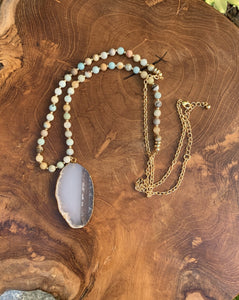 Amazonite and Agate Slice Necklace