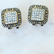 Load image into Gallery viewer, Designer Inspired Two Tone Earrings with Pave Crystals