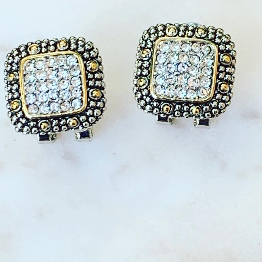 Designer Inspired Two Tone Earrings with Pave Crystals